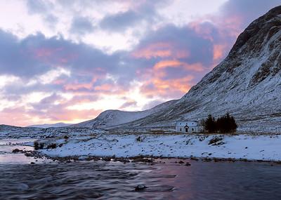 Lagangarbh Hut at Sunrise in Winter