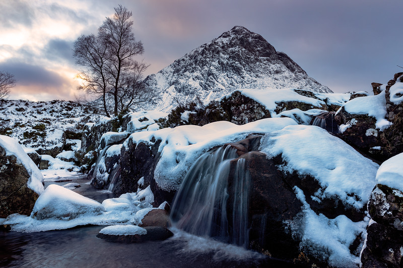Waterfall on River Coupall Overlooking Buchaille Etive Mor