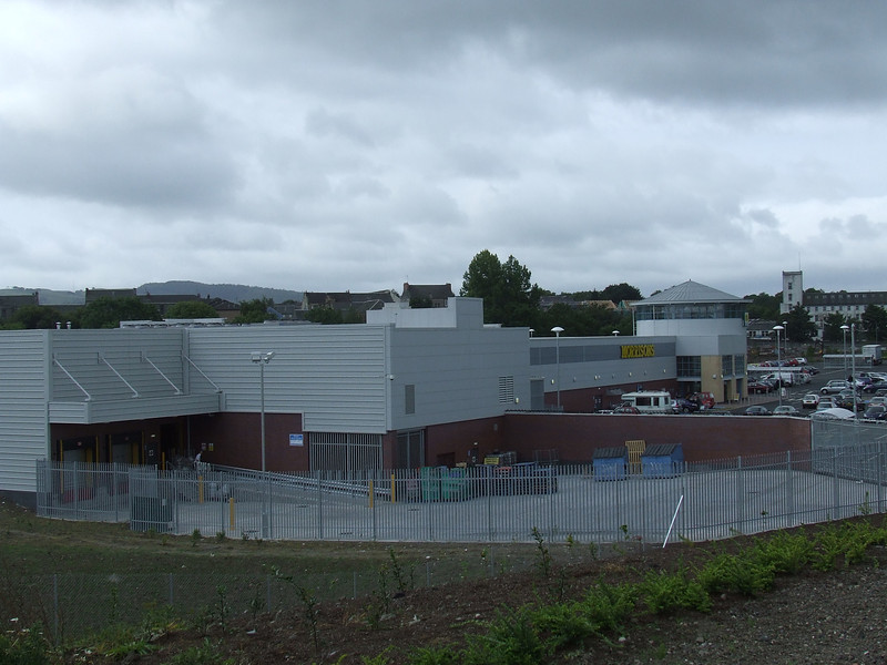 The new (then) Morrison's store, as seen from the Cycle Track. The still intact Paton's Mill is in the background.