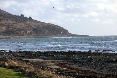Waves from Drumadoon Bay breaking on the shore at Blackwaterfoot. 2 January 2012