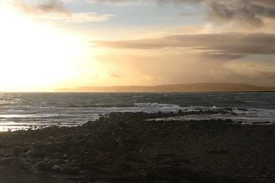 Setting sun over Drumadoon Bay and Mull of Kintyre from Blackwaterfoot. 2 January 2012