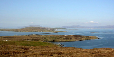 Berneray, view from Bein a Chaolais (with causeway)