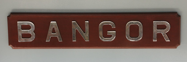 Nameplate on HMS Bangor. 25 July 2014