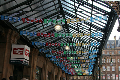 Bunting under the Gordon Street Canopy of Glasgow Central Station. 25 July 2014