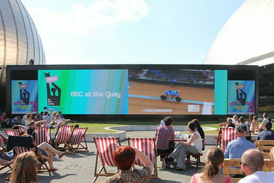Big Screen at Pacific Quay showing para-tandem race at the Chris Hoy Velodrome. 25 July 2014