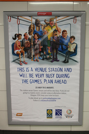 Games travel poster at Ibrox Station. 25 July 2014