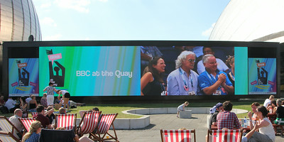 Big Screen at Pacific Quay showing Billy Connolly at the Chris Hoy Velodrome. 25 July 2014
