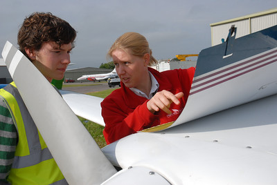 Inverness Airport Highland Aviation flying school instructor Kim Kothmann with David