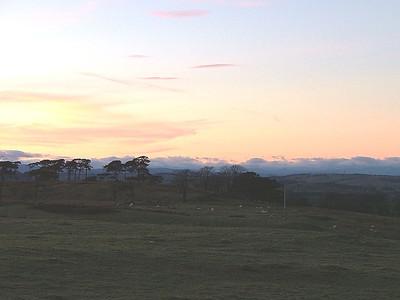 Looking north-west from Eaglesham's Bonnyton Golf course into the sunset. 29 January 2005