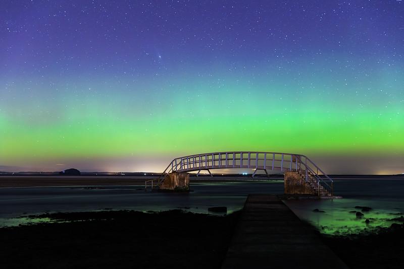 """Aurora Borealis Over """"The Bridge to Nowhere"""""""