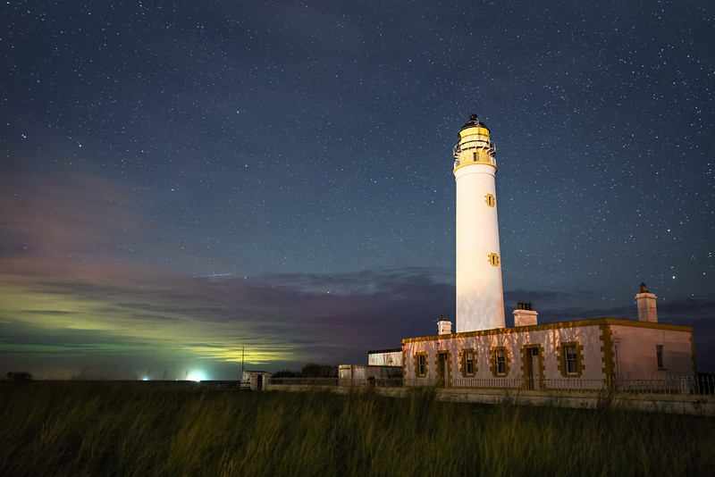 Barns Ness Lighthouse with Beautiful Night Sky