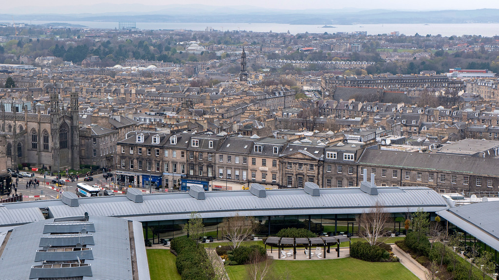 The Glasshouse Hotel in Edinburgh: View of the luxury Edinburgh accommodation from Calton Hill