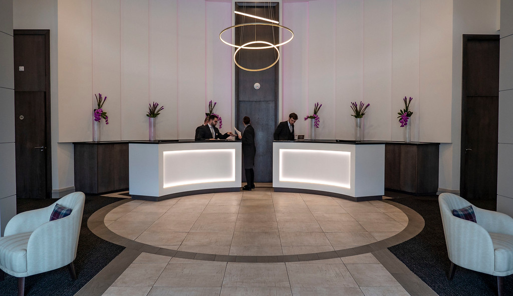 The lobby of the Glasshouse Hotel in Edinburgh Scotland
