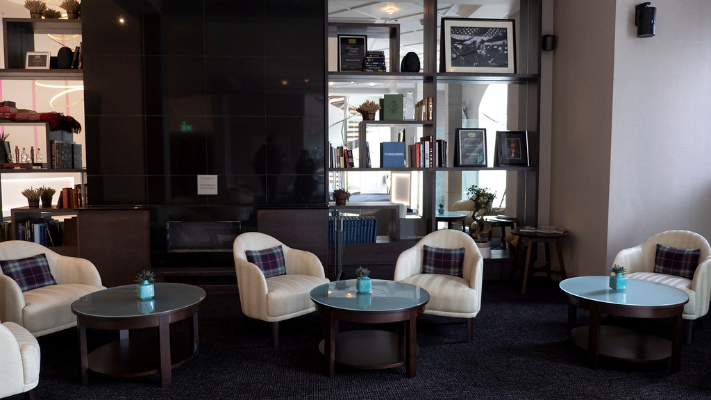 Seating area in the lobby of the Glasshouse Hotel in Edinburgh