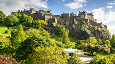 Edinburgh Castle above Princes Street Gardens