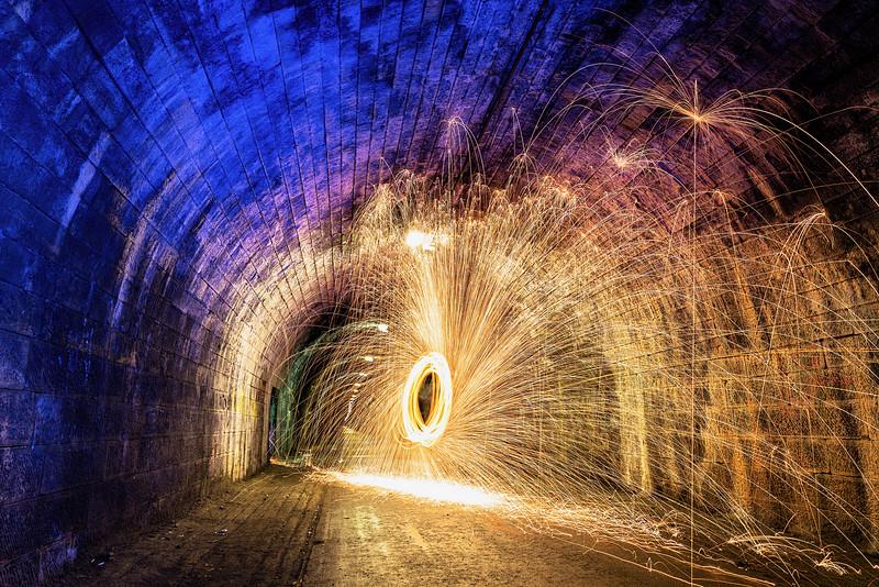 Wire Wool Spinning in Innocent Railway Tunnel