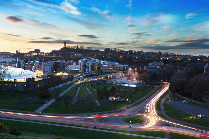 Overlooking the Scottish Parliament from Arthur's Seat at Sunset