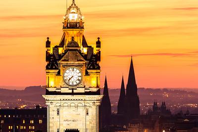 Balmoral Hotel Clock Tower at Sunset