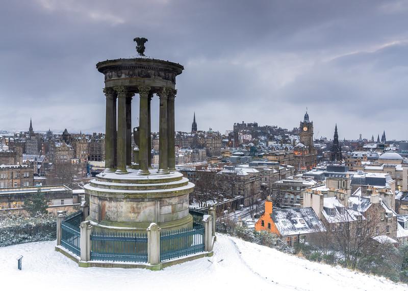 The Dugald Stewart Monument & Edinburgh Skyline in Winter