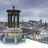 The Dugald Stewart Monument & Edinburgh Skyline in Winter