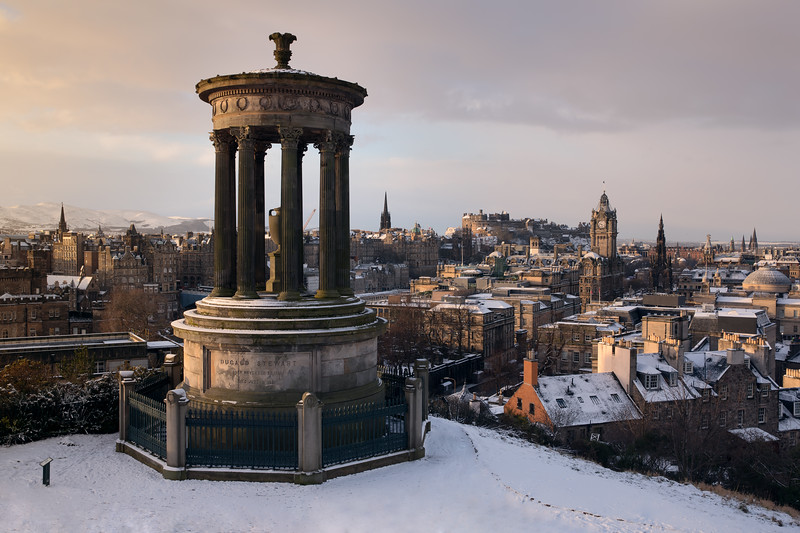 Snow Covered Edinburgh Skyline with the Dugald Stewart Monument in the Foreground