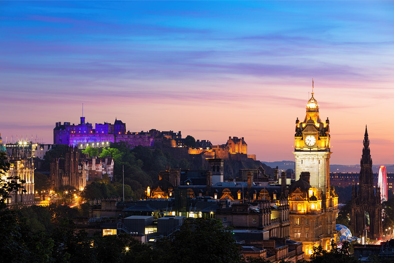 Edinburgh Castle Lit Up During Twilight