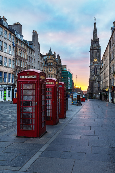 Iconic Phone Boxes on the Royal Mile at Sunrise