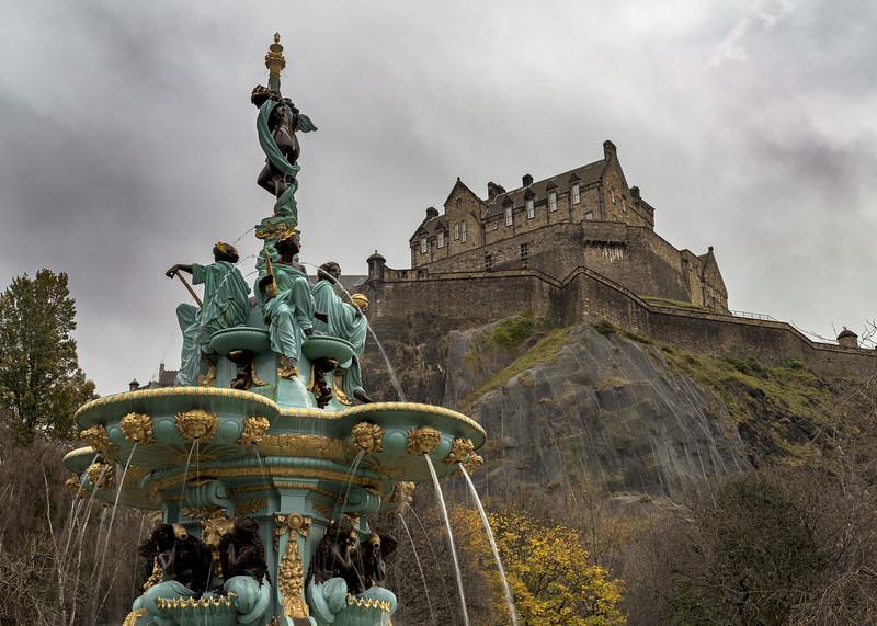 The Ross Fountain & Edinburgh Castle on Overcast Day