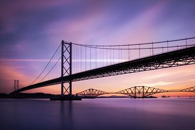 Sunrise Overlooking The Forth Road Bridge