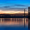 The Forth Road Bridge & Queensferry Crossing During Twilight