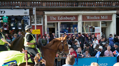 Mounted police on their way down the Royal Mile