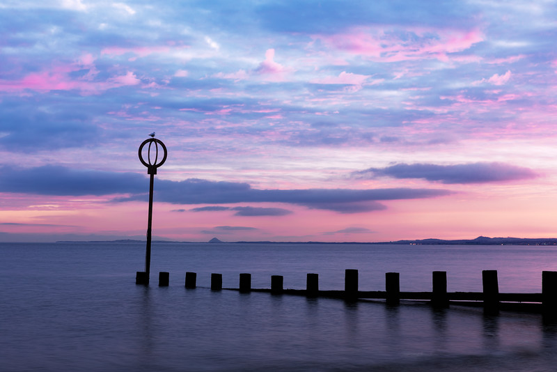 Breakwater on Portobello Beach at Sunrise