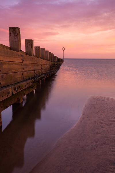 Breakwater on Portobello Beach at Sunrise