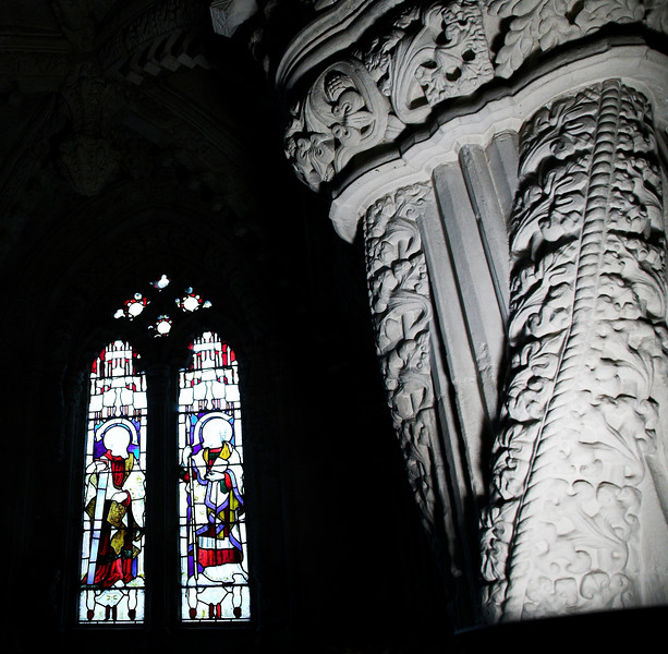 The Apprentice Pillar and stained glass window