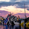 The Dazzle Ship in Leith Docks at Sunrise