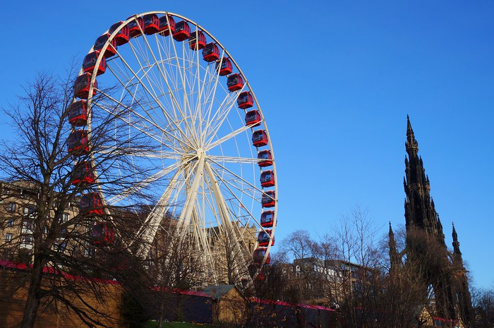 Giant red ferris wheel in Edinburgh.