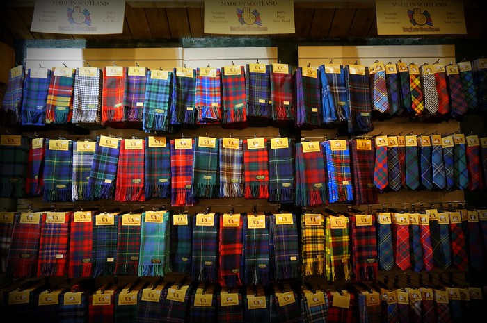 Scottish tartans for each clan.