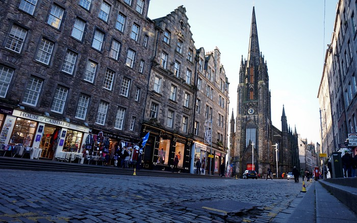 Walking along Edinburgh's Royal Mile.