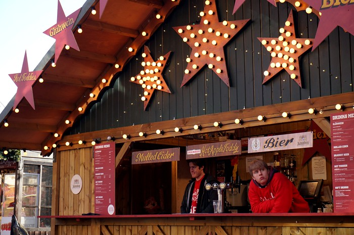 Hot toddys, apple cider, and mulled wine at the Christmas Market.