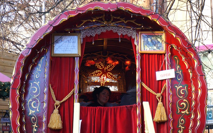 A fortune teller at Edinburgh's Christmas Market.