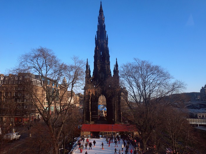Winter ice-skating in Edinburgh.