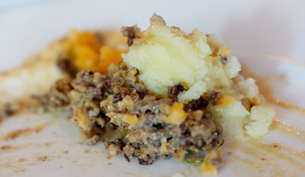 A close-up shot of the Haggis, neeps and Tatties