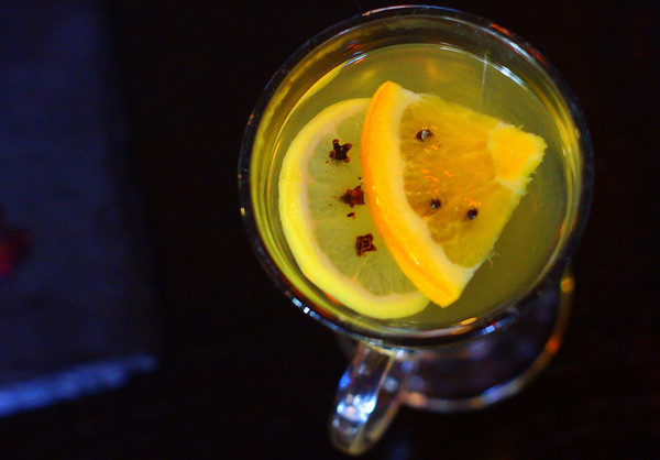 An overhead shot of the Hot Toddy drink