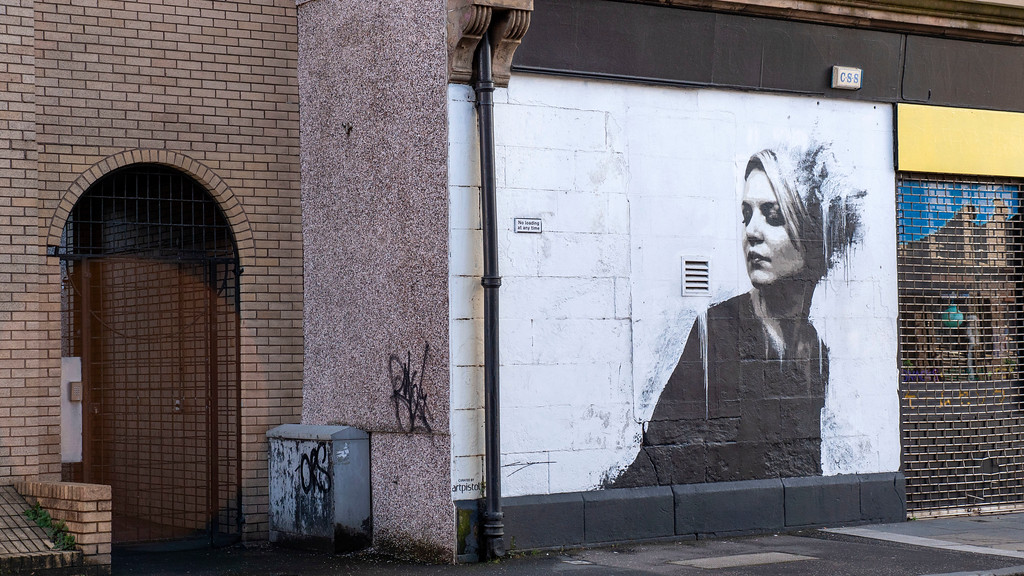 Street Art in Glasgow: Study of a Woman in Black
