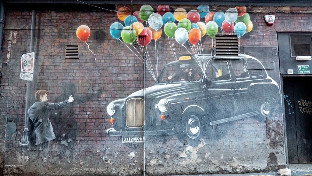Street Art in Glasgow: The World's Most Economical Taxi