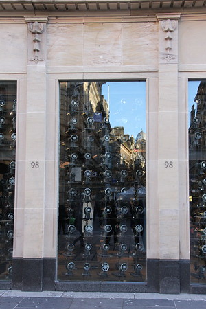 Previously a branch of the Royal Bank of Scotland, this building became a branch of Borders bookshop. Following the close of the book shop chain, the retail space was taken of by All Saints Spitalfields with manual sewing machines in the windows. 3 January 2015