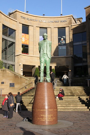 Statue of Donald Dewer in front of the Glasgow Royal Concert Hall. 3 January 2015