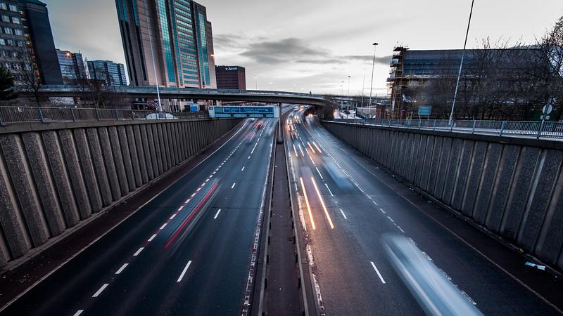 M8 motorway in central Glasgow