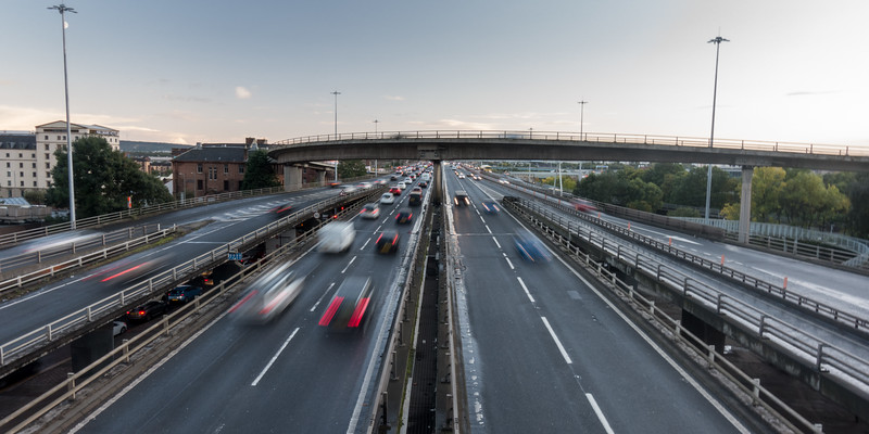 Traffic on the M8 motorway in Glasgow