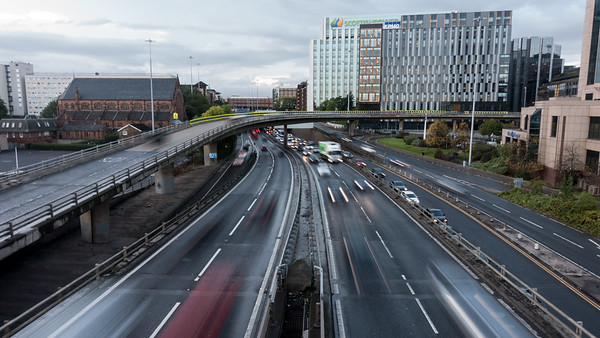 Traffic on the M8 motorway in Glasgow